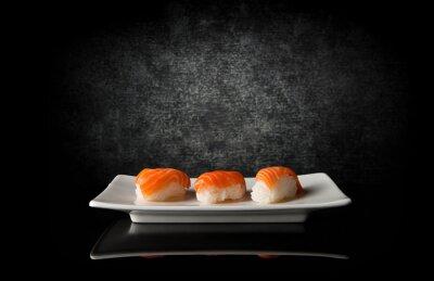 Fotomural Três, sushi, pretas