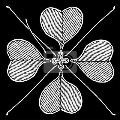 Trevo Cruz Preto E Branco Desenho Vetorial Fotomural Fotomurais