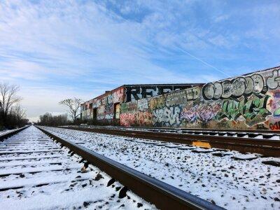 Fotomural Trilhas do trem de Detroit, Michigan e neve - foto colorida da paisagem