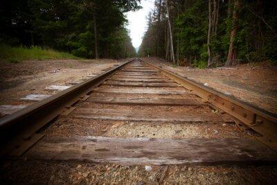 Fotomural Trilhos de trem velhos com efeito da textura do vintage