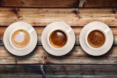 Fotomural tris di caffè su fondo legno