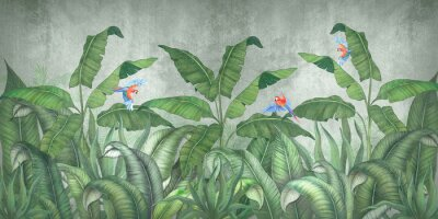 Fotomural Tropical jungle with flying parrots. Against the background of textured plaster.