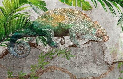 Fotomural Tropical leaves and plants with graphic drawn chameleon on concrete grunge wall. Great choise for wallpaper, photo wallpaper, mural, card, postcard. Design for modern and loft interiors.