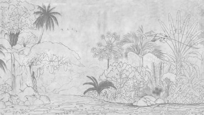 Fotomural Tropical nature landscape, jungle with exotic tropical plants, flowers and leaves. Drawn jungle illustration. Design  for card, postcard, wallpaper, photo wallpaper, mural.
