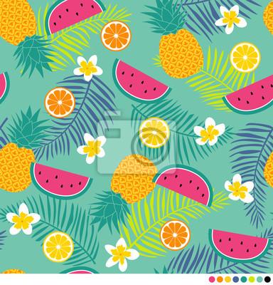 Fotomural Tropical padrão com abacaxi, plumeria, folha de palmeira, melancia e citrinos