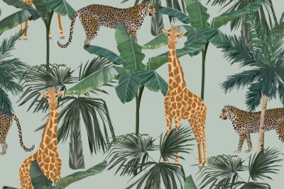 Fotomural Tropical seamless pattern with palm trees, giraffes and leopards. Summer yungle background. Vintage vector illustration. Rainforest landscape