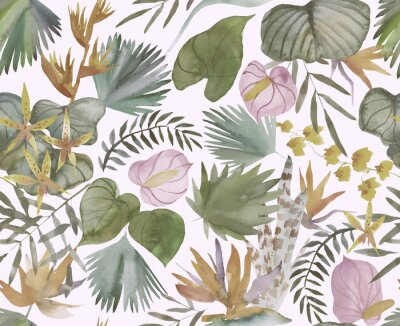 Fotomural Tropical seamless pattern with tropical flowers, banana leaves.  Round palm leaves, watercolor painted