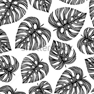 Fotomural Tropical trendy seamless pattern with exotic leaves.