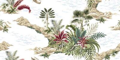 Fotomural Tropical vintage botanical island, seamless pattern white background. Exotic jungle wallpaper.