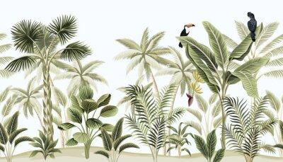 Fotomural Tropical vintage botanical landscape, palm tree, banana tree, plant, black parrot, toucan floral seamless border blue background. Exotic green jungle animal wallpaper.