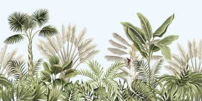 Fotomural  Tropical vintage botanical landscape, palm tree, banana tree, plant floral seamless border blue background. Exotic green jungle wallpaper.