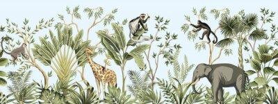 Fotomural Tropical vintage botanical landscape, palm tree, banana tree, plant, palm leaves, giraffe, monkey, elephant floral seamless border blue background. Jungle animal wallpaper.