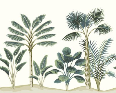 Fotomural Tropical vintage Hawaiian palm trees, banana tree, plant floral seamless pattern white background. Exotic jungle wallpaper.