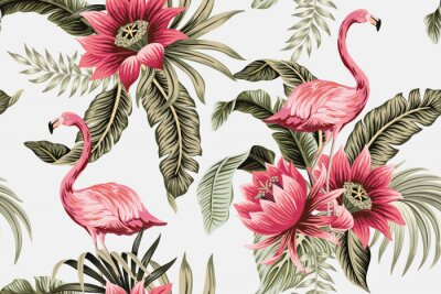 Fotomural Tropical vintage pink flamingo, pink hibiscus, palm leaves floral seamless pattern grey background. Exotic jungle wallpaper.