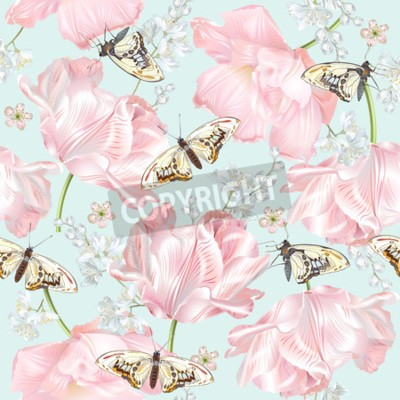 Fotomural Tulip butterfly pattern