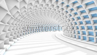 Fotomural Túnel abstrato branco com as janelas azuis do retângulo. Ilustração 3d rende