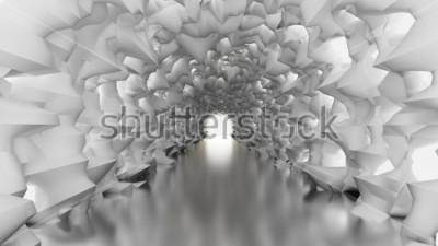Fotomural Túnel branco e luz. Ilustração 3d, rendição 3d.