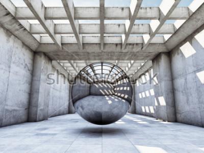 Fotomural Túnel concreto do conceito da arte com bola de metal. Ilustração 3D.