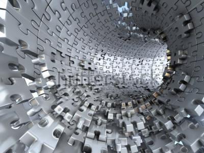 Fotomural Túnel feito de quebra-cabeças metálicos. Ilustração 3d conceitual,