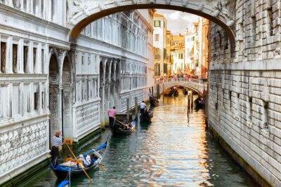 Fotomural Turista, gôndolas, velejando, sob, ponte, suspiros, Veneza