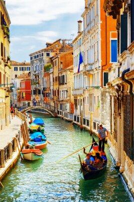 Fotomural Turistas, viajando, gôndola, Rio, Marin, canal, veneza, itália