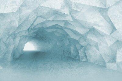 Fotomural Turning luz azul túnel interior com alívio de cristal