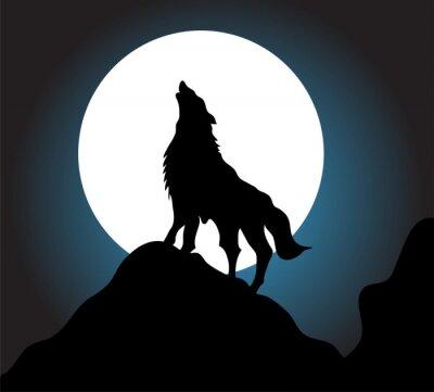 Fotomural Uivo do lobo fundo