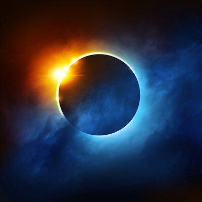 Fotomural Um Eclipse Total do Sol. Ilustração dramática do Eclipse solar.
