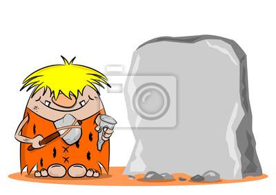 Um Homem Das Cavernas Dos Desenhos Animados Com Martelo E Cinzel