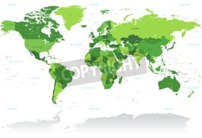 Fotomural Um mapa alto do vetor do detalhe do mundo nas máscaras do verde. Todos os países são nomeados com o nome inglês respectivo.