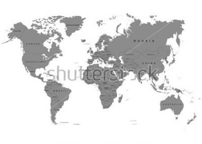 Fotomural Um terra, mapa do mundo no fundo branco. Antártica. Ilustração vetorial
