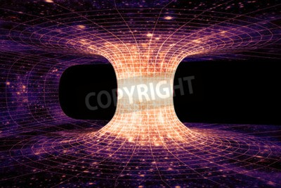 Fotomural Um wormhole, ou ponte de Einstein-Rosen, é um atalho hipotético que conecta dois pontos separados no espaço-tempo.