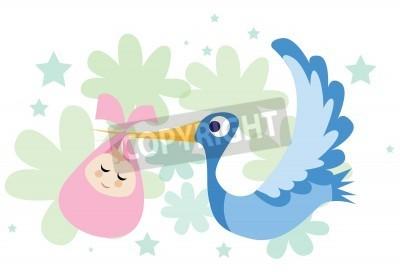 uma imagem de uma cegonha voando e carregando um bebé em seu