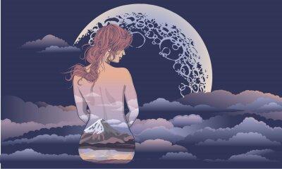 Fotomural Uma menina romântica fica no fundo da lua. Menina de arte corporal, corpo pintado com cenário. Menina romântica no fundo da lua e tatuagem de céu estelar e design de t-shirt. mulher sentada em