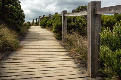 Fotomural Uma passagem de madeira ao longo de uma cerca com a vegetação verde que cresce em ambos os lados sob um céu nebuloso. Este é ficado situado em algum lugar ao longo da estrada grande do oceano em Austr
