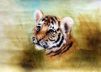Fotomural Uma pintura bonita do airbrush de uma cabeça adorável do tigre de bebê que olha para fora de uma grama verde circunda