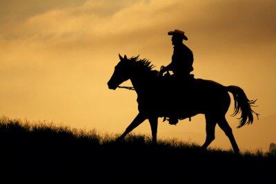 Fotomural Uma silhueta de um cowboy e cavalo anda acima de um prado com um fundo de céu laranja e amarelo.