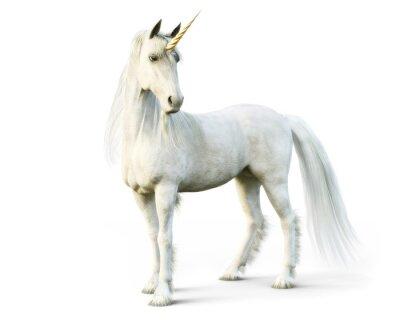 Fotomural Unicórnio majestoso que levanta em um fundo isolado branco. Renderização em 3d