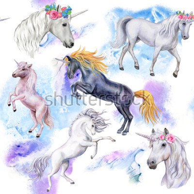 Fotomural Unicórnios Padrão sem emenda com cavalos. Ilustração de animais. Aquarela Modelo. Fechar-se
