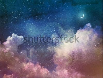 Fotomural Universo cheio de estrelas e lua. Aguarela