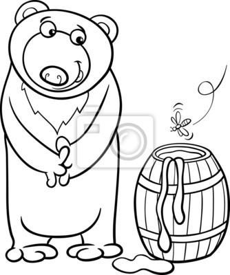 Urso Com Mel Dos Desenhos Animados Para Colorir Fotomural