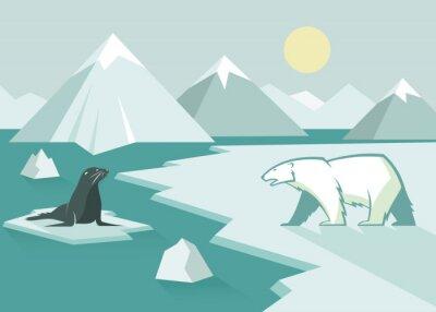 Fotomural Urso polar e selo - design plano