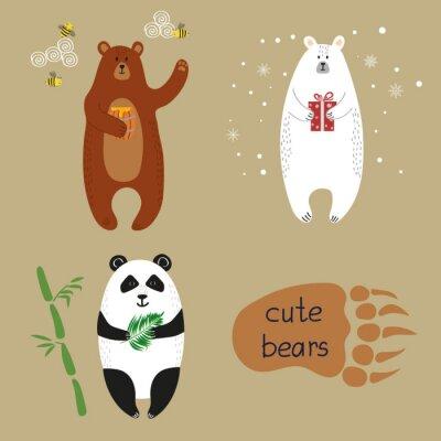 Fotomural Ursos bonitos ajustados. Coleção de ilustrações do vetor dos desenhos animados do urso marrom, do urso polar e da panda.