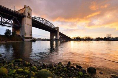 Fotomural Vancouver, histórico, Burrard, ponte, Inverno, pôr do sol