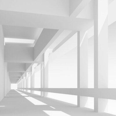 Fotomural Vazio, branca, corredor, perspectiva, 3d, ilustração