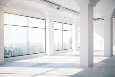 Fotomural Vazio branco loft interior com grandes janelas, 3d render
