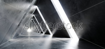 Fotomural Vazio Longo Luz Polido Concreto Moderna Sci-Fi Triângulo Futurista Em Forma de Construção Túnel Corredor 3D Renderização de Ilustração