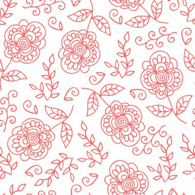 Fotomural Vector a flor eo teste padrão sem emenda das folhas. Doodle flores bonitos.