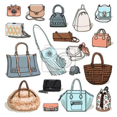 f01856b0b Fotomural Vector a ilustração da coleção da forma da mulher dos sacos.  Esboço de objetos