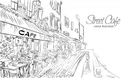 Fotomural Vector a ilustração da rua café